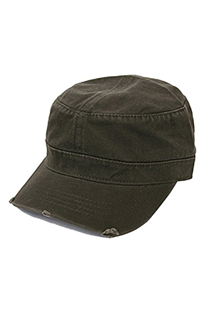 OTTOCAP/오토캡 Garment Washed Distressed Military Cap (Olive Green)