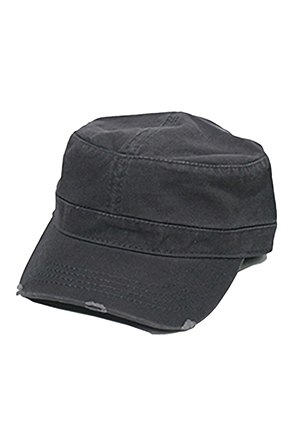 OTTOCAP/오토캡 Garment Washed Distressed Military Cap (Charcoal Grey)