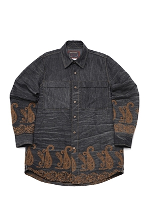 AWESOME IMAGINATIONPAISLEY NEEDLEWORKLOOSE-FIT SHIRTSBlack