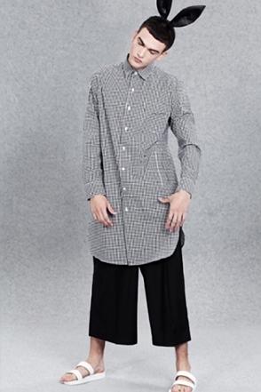 IRONY PORN(O) Check Long Shirt