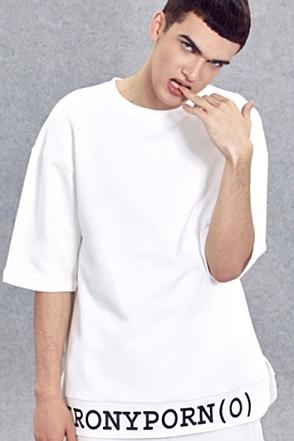 IRONY PORN(O) Lettering Drop Shoulder T-shirt(W)