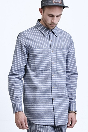 AWESOME IMAGINATION LINEN STRIPE LOOSE-FIT SHIRTS Blue