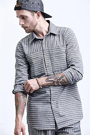 AWESOME IMAGINATION LINEN STRIPE LOOSE-FIT SHIRTS Black