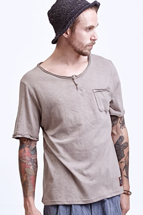 AWESOME IMAGINATION  Khaki-Beige Henley T-Shirt with Patch Pocket