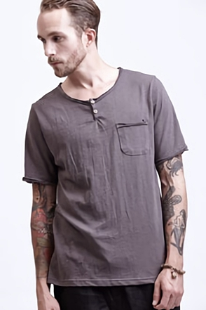 AWESOME IMAGINATION  Charcoal Henley T-Shirt with Patch Pocket