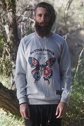 AWESOME IMAGINATION BUTTER FLOWER SWEAT SHIRTS Gray