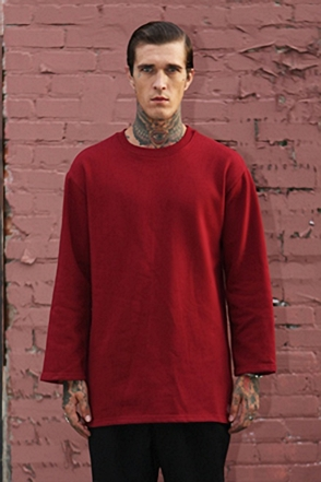 IRONY PORN(O) Patrick Oversize Zipper Split Side Sweatshirt Wine