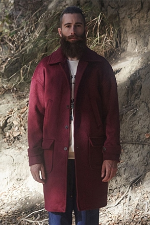 AWESOME IMAGINATION SOLID WOOL CASHMERE OVER-SIZE COAT Burgundy