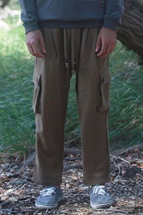 AWESOME IMAGINATION DIAGONAL WARM COTTON CARGO PANTS Beige