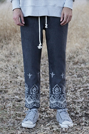 AWESOME IMAGINATION EMBROIDERY HEAVY WOOL BANDING PANTS Charcoal