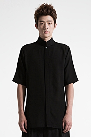 IRONY PORN(O) VOYEUR LABEL Front Split Collar Half Shirt