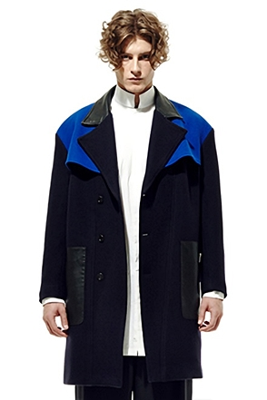IRONY PORN(O) Blue&Black Big Pocket Point Coat
