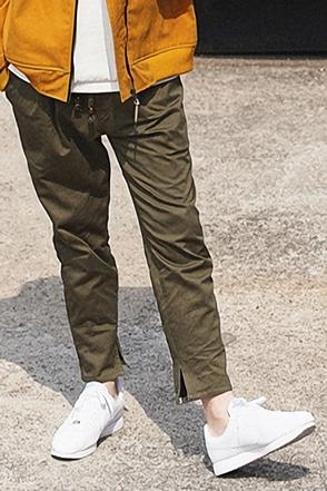 AWESOME IMAGINATIONDrawstring Waist Cotton Pants(Khaki)