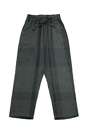 AWESOME IMAGINATIONMADRAS CHECK LINEN WIDE PANTSGray