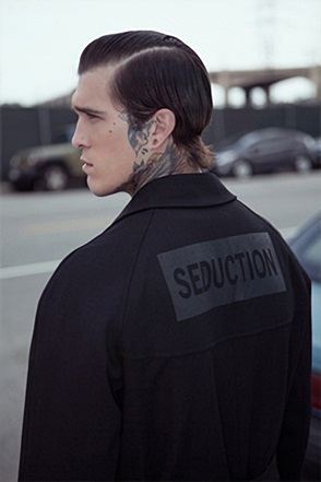 IRONY PORN(O) Saint 'SEDUCTION' Lettering Trench Coat